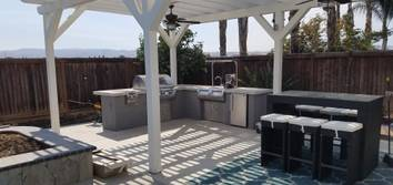 Brentwood: Bathroom conversion and Outdoor Kitchen Remodel Office conversation to a full bathroom and outdoor kitchen remodel.