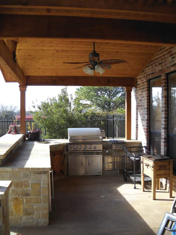 Covered porch outdoor kitchen