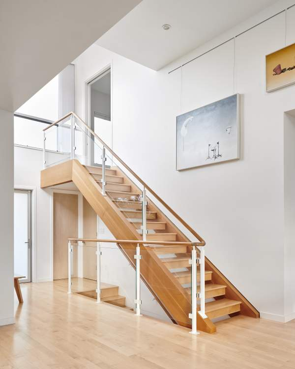 Custom Open Tread Staircase with Glass Hand Rail