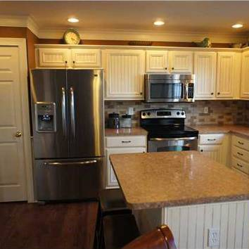 Delaware Ohio Kitchen Remodel Added Trim And Bead Board To Existing Oak Cabinets Then